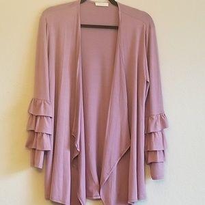 2 left-Mauve Pink Ruffle Sleeve Cardigan